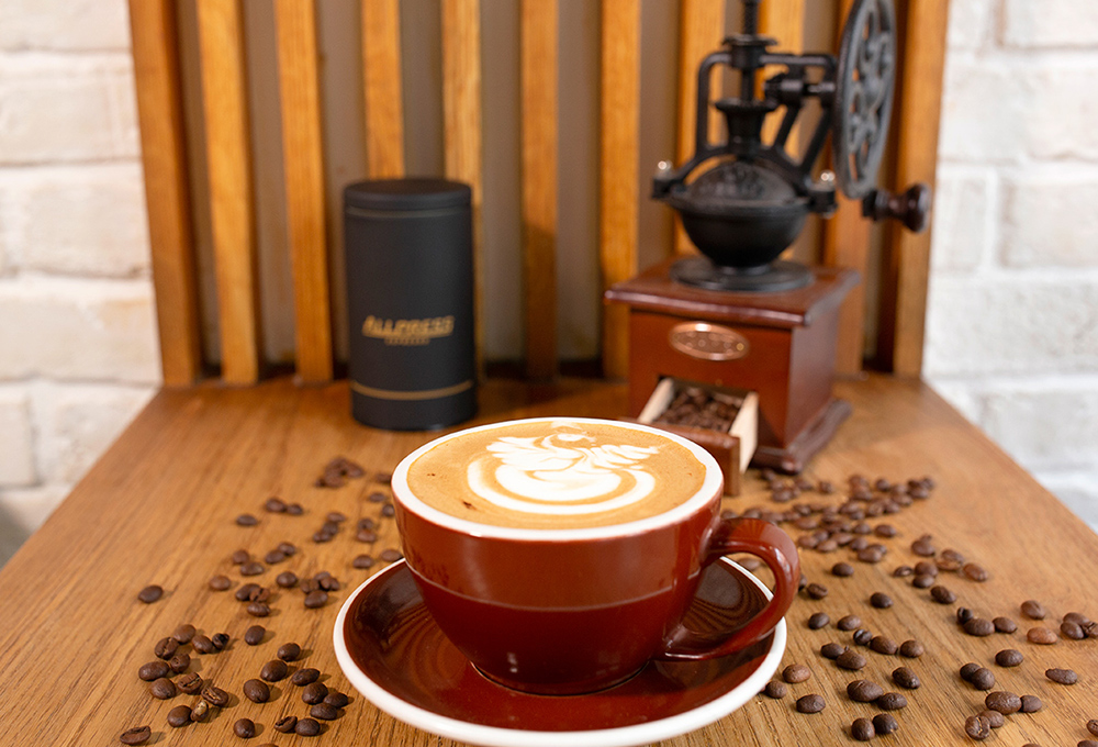 Caffe Latte with Coffee Beans